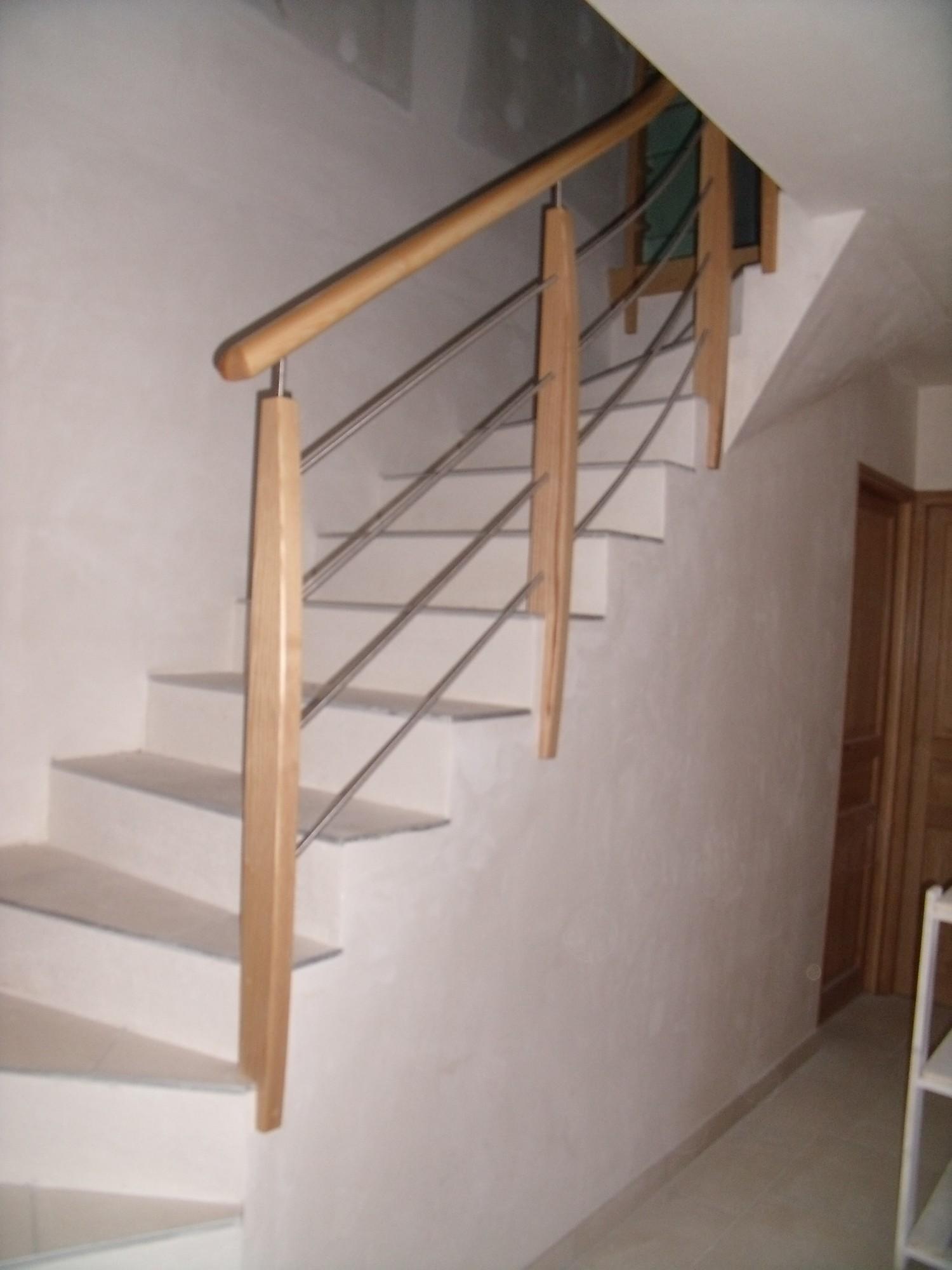 Rampe sur escalier carrel atelier glotin pontchateau - Rampe escalier bois ...
