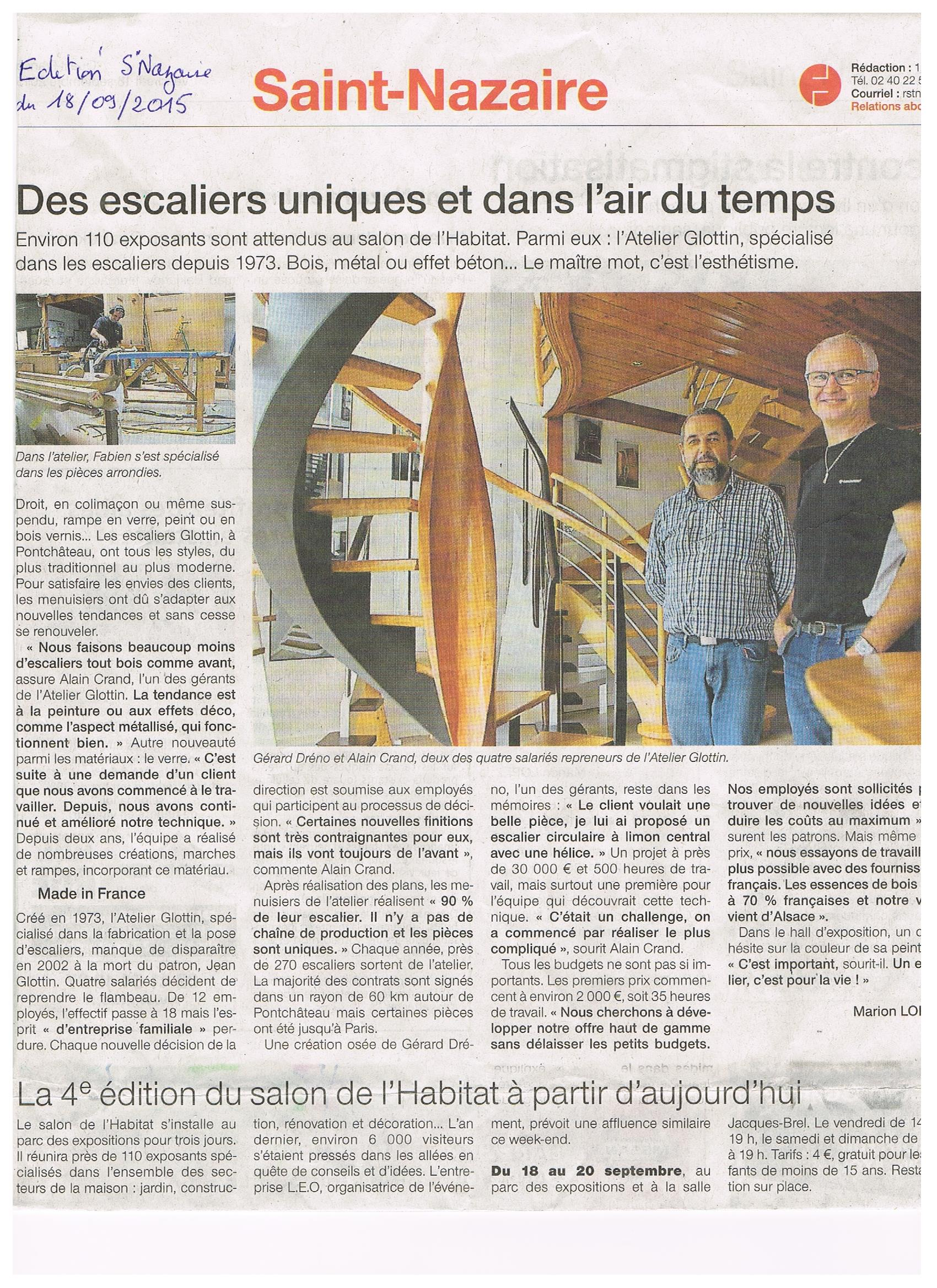 Article Ouest France .(Septembre 2015)
